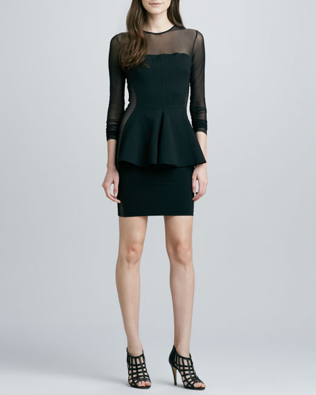 Torn by Ronny Kobo Lima Mesh-Top Peplum Dress