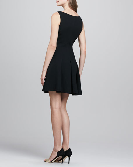 Pleat-Skirt Wool Dress, Black