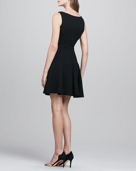 Pleat-Skirt Wool Dress, Black