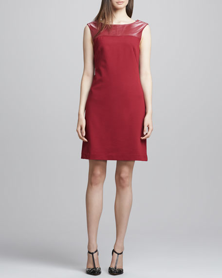 Gelsey Leather-Top Crepe Dress