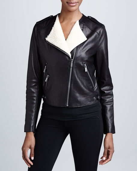 Leather Moto Jacket with Real Shearling