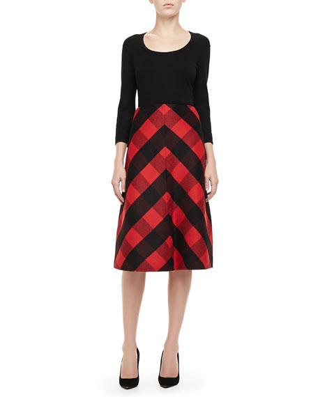 Buffalo Check A-Line Skirt, Crimson