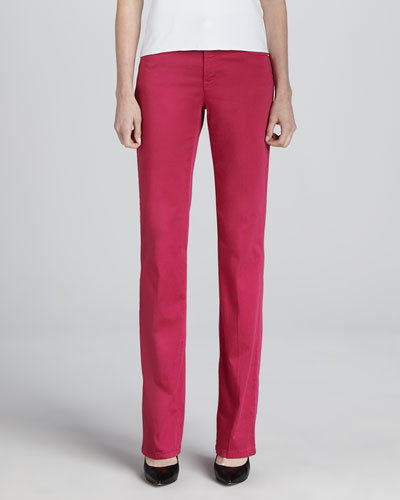 Armani Collezioni Denim Straight-Leg Trousers, Raspberry