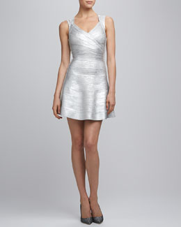 Herve Leger Silver Bandage Dress