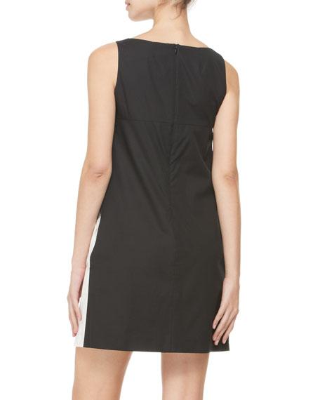 Sleeveless Abstract-Print Shift Dress, Black/Multi