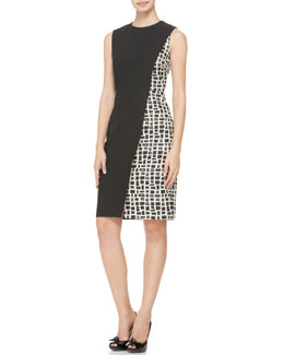 Paule Ka Printed-Side Dress, Black/Ecru