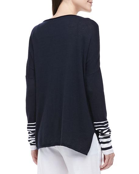 Striped-Sleeve Slub Top