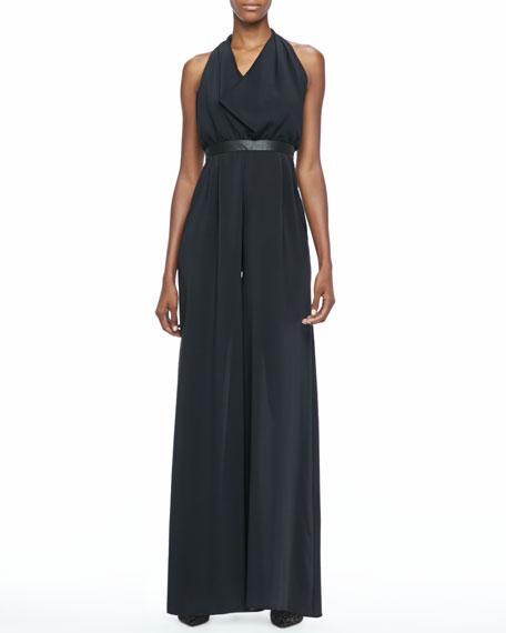 Danyl Leather-Waist Jumpsuit