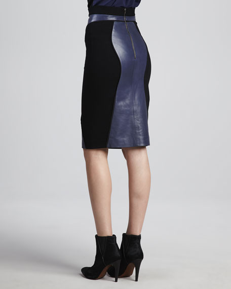 Della Leather-Panel Pencil Skirt