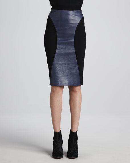 Della Leather-Panel Pencil Skirt