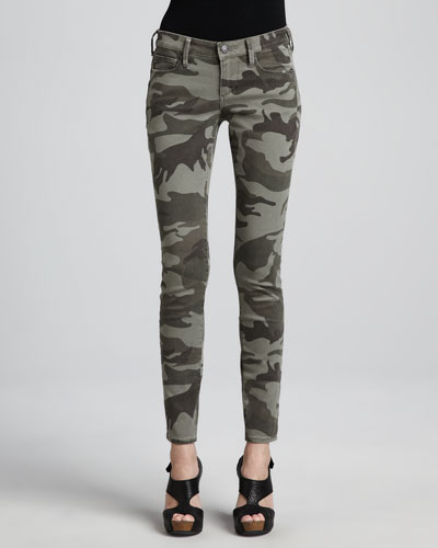 True Religion Casey Stretch Camo Low-Rise Super Skinny Pants