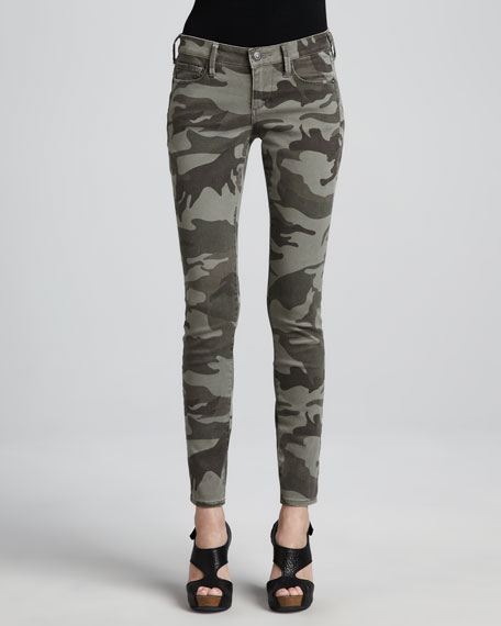 True Religion Casey Stretch Camo Low-Rise Super Skinny