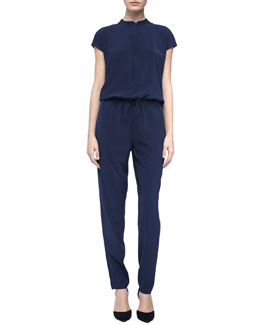 Vince Mock-Neck Drawstring Jumpsuit