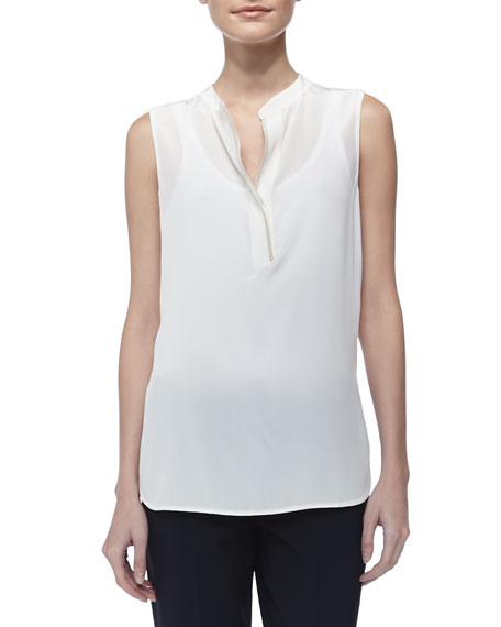Silk Contrast-Trim Blouse