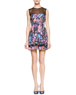 Nanette Lepore Magical Printed Sheer-Top Dress