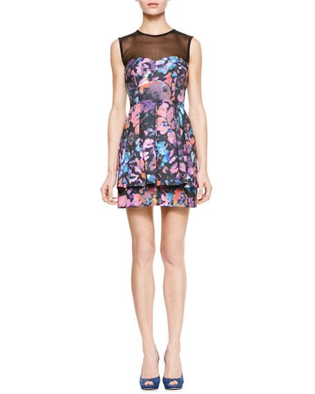 Magical Printed Sheer-Top Dress