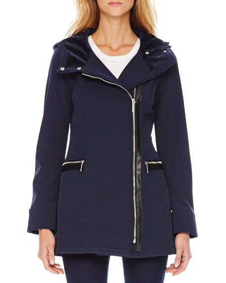 Leather-Trim Hooded Jacket
