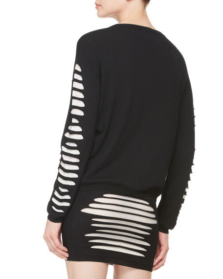 Slashed-Knit Pullover Sweater