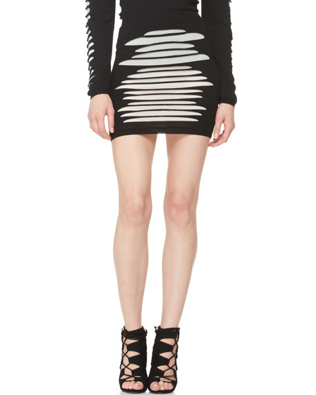 Slashed Knit Skirt
