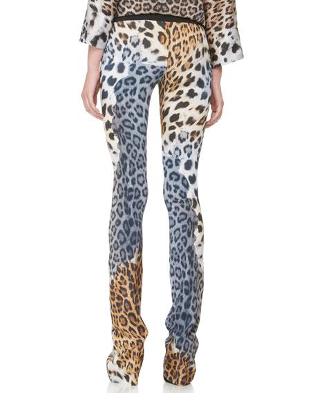 Leopard-Print Slightly Flared Pants