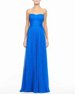 Monique Lhuillier Silk Strapless Sweetheart Draped Gown