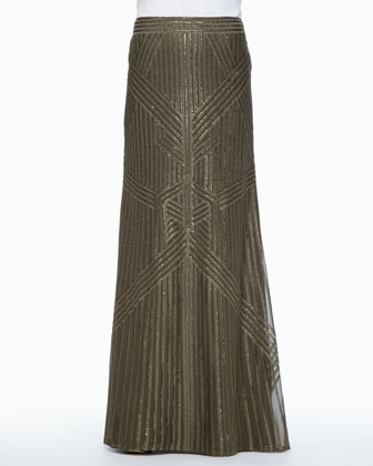 Sequined Chiffon Maxi Skirt