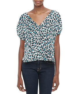 Milly Cheetah-Print Silk Top