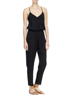 Milly Matte Stretch-Silk Racerback Jumpsuit