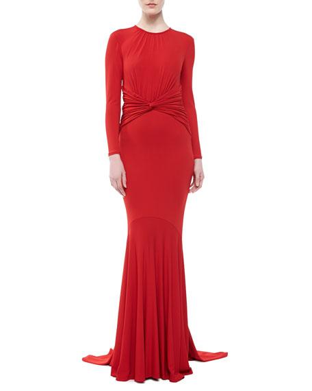 Matte Jersey Goddess Gown, Crimson