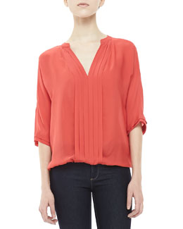 Joie Marru Pleat-Front Blouse