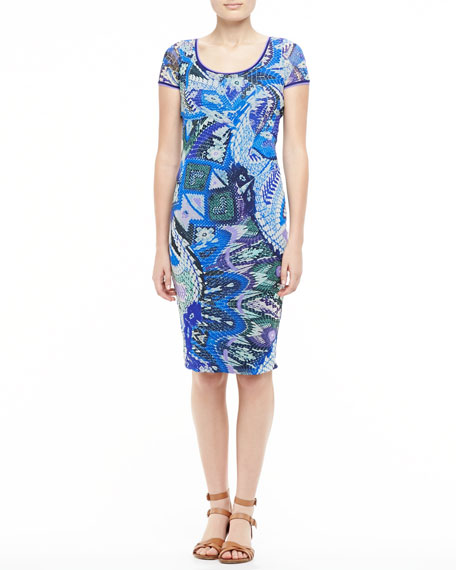 Scaled Floral-Print Sheath Dress, Blue/Purple