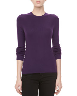 Michael Kors Cashmere-Blend Crewneck Long-Sleeve Sweater, Blackberry