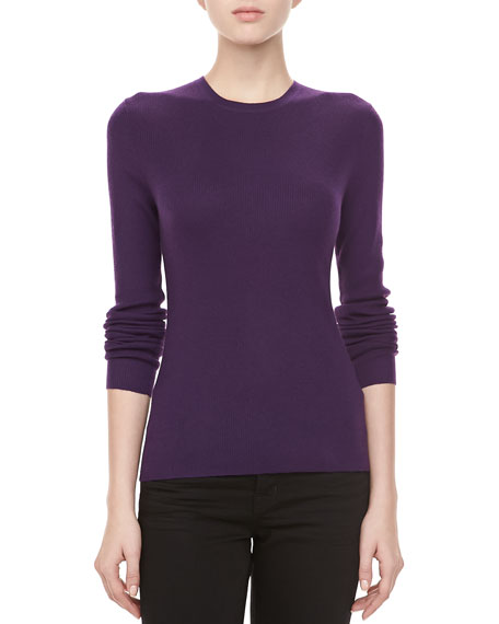 Cashmere-Blend Crewneck Long-Sleeve Sweater, Blackberry