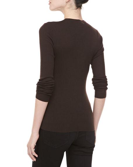 Cashmere-Blend Crewneck Long-Sleeve Sweater, Chocolate