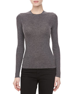Michael Kors Cashmere-Blend Crewneck Long-Sleeve Sweater, Banker