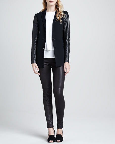 Redell Side-Zip Leather Pants, Black