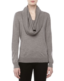 Michael Kors Long-Sleeve Cowl-Neck Sweater, Banker
