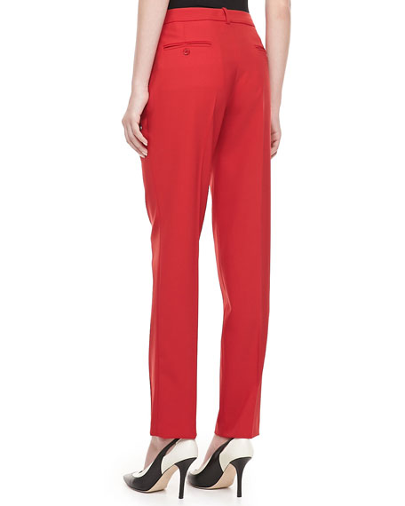 Samantha Skinny Wool Pants, Crimson