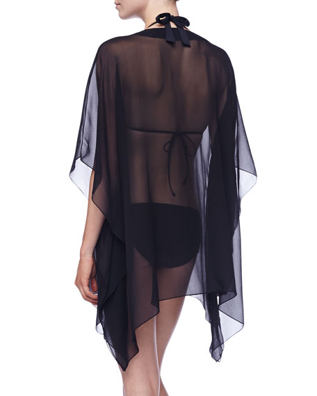 Premiere Sheer Statement-Neckline Tunic Coverup