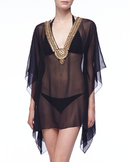 Luxe by Lisa Vogel Premiere Sheer Statement-Neckline Tunic Coverup