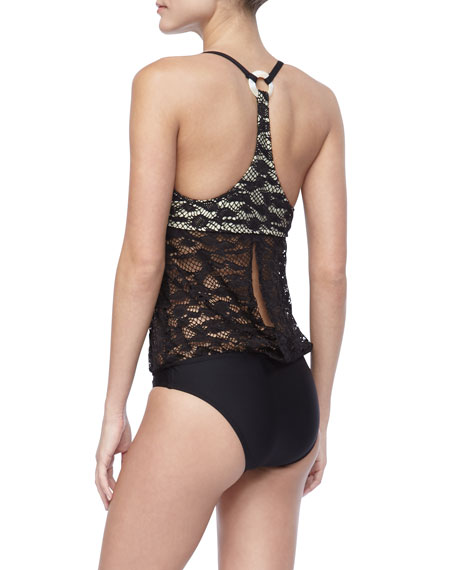 Lace-Top One-Piece Swimsuit