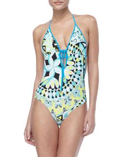 Emilio Pucci Capri-Print Tie Swimsuit