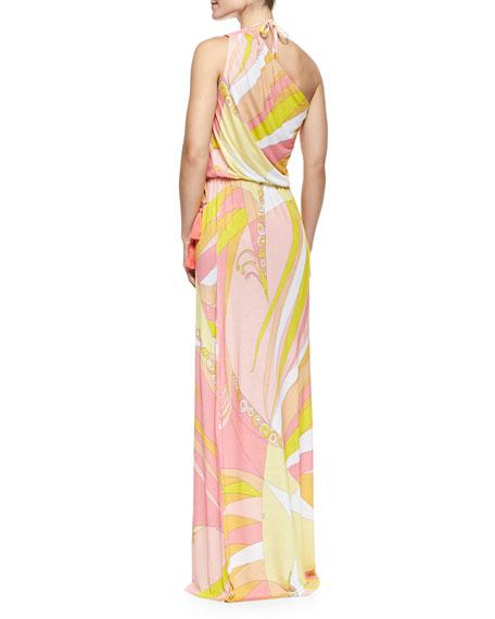 Fenice-Print Asymmetric Blouson Maxi Dress