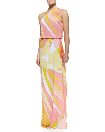 Fenice-Print Asymmetric Blouson Maxi Dress