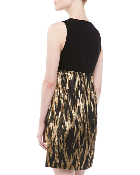 Metallic Ikat-Print Colorblock Shift Dress