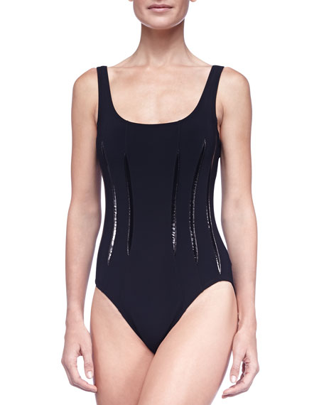 Shiny-Stripe One-Piece