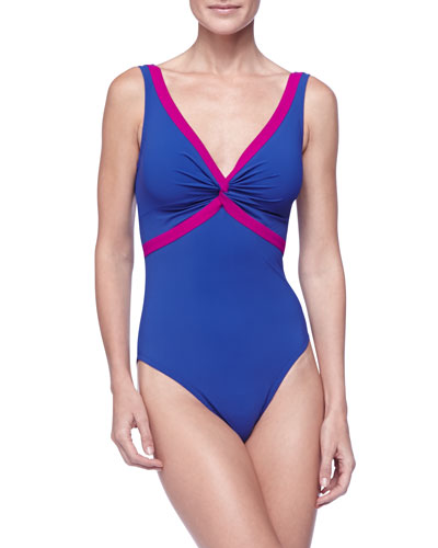 Karla Colletto Twist-Front Contrast One-Piece