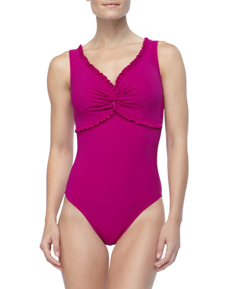 Ruffle-Trim One-Piece