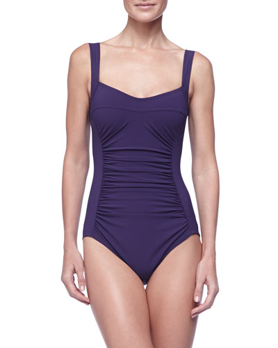Karla Colletto Ruched-Front One-Piece