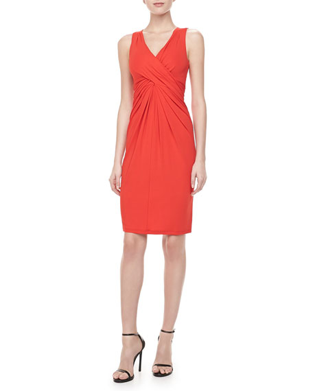 Sleeveless Wool-Crepe Dress, Coral